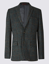 M&s Collection Luxury Harris Tweed Pure Wool 2 Button Jacket