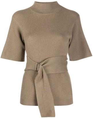 Brunello Cucinelli Belted Waist Knitted Top