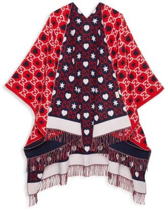 Gucci GG & Heart Jacquard Wool Poncho