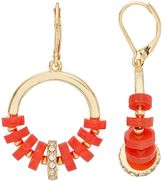 Dana Buchman Red Rondelle Nickel Free Drop Hoop Earrings