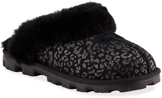 UGG Croquette Leopard-Print Fur Slippers