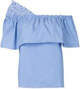 Le Ciel Bleu asymmetric ruffle top - women - Cotton - 36