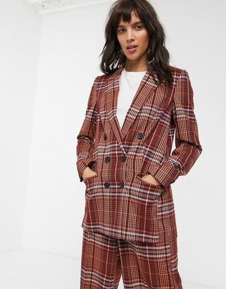 InWear Jael check double breasted blazer co-ord