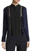 3.1 Phillip Lim Long-Sleeve Fil Coupe Silk Woven Top