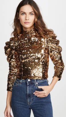 Alice + Olivia Brenna Sequin Fitted Puff Sleeve Top
