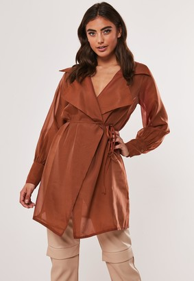 Missguided Rust Organza Long Belted Wrap Blouse