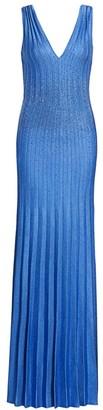 St. John Beaded Plisse Knit Sequin Gown