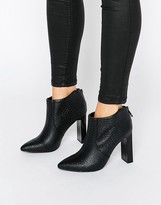 Missguided Croc Print Heeled Ankle Boot