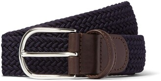 Andersons Leather Stretch Woven Belt in Navy