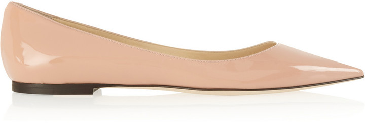 Jimmy Choo Alina patent-leather point-toe flats