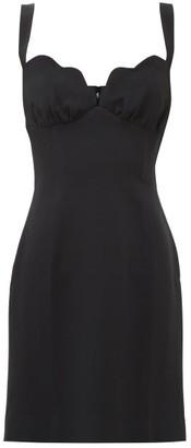 Saloni Halle Scalloped-neck Crepe Mini Dress - Black