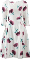 Oscar de la Renta Split Neck Floral Dress