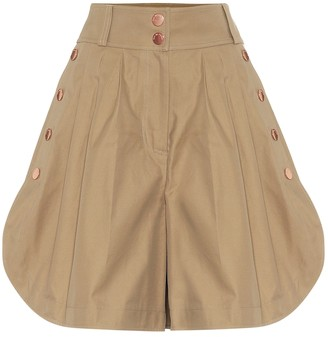 See by Chloe High-rise wide-leg cotton shorts