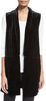 Joan Vass Velvet Long Vest, Black, Plus Size
