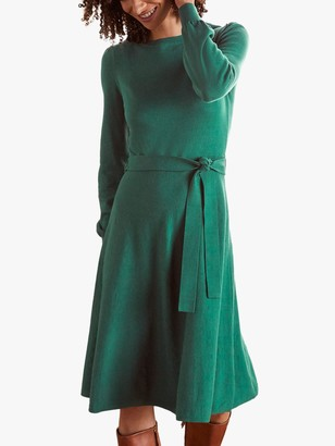 Boden Deborah Knee Length Dress, Deep Forest