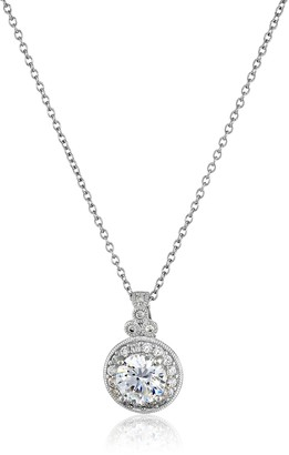 Swarovski La Lumiere Platinum-Plated Sterling Silver and Zirconia Round-Cut Antique Pendant Necklace 45.72cm