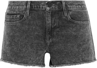 Frame Le Cutoff Frayed Acid-wash Denim Shorts