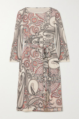 Etro Belted Paisley-print Jersey Dress - Ivory