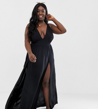 ASOS DESIGN Curve beach maxi dress with frill strap & plunge neck in black