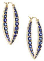Ila Ceylon Garrison Pavé Blue Sapphire & 14K Yellow Gold Hoop Earrings
