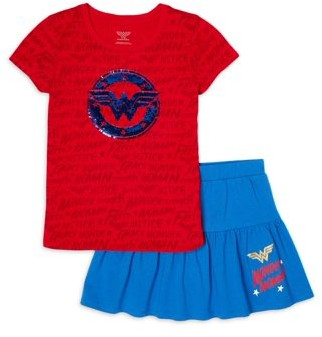 Wonder Woman Girls 4-16 Graphic Top and Logo Scooter, 2-Piece Outfit Set