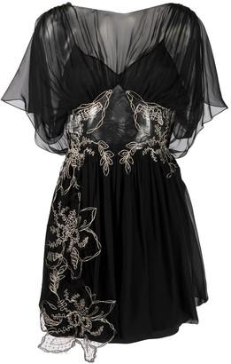 Alberta Ferretti Sheer Floral Embroidered Dress