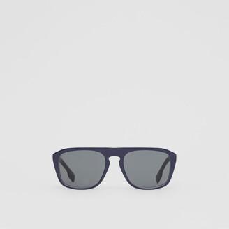 Burberry Icon Stripe Detail Square Frame Sunglasses