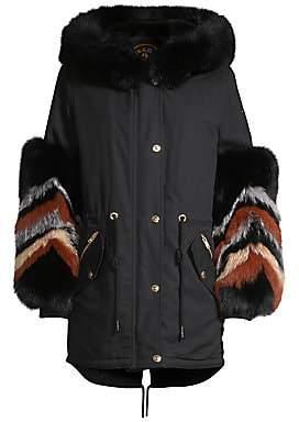 Moose Knuckles Women's Coderre Fox & Rabbit Fur-Trim Cotton Canvas Parka