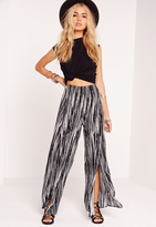Missguided Crepe Stripe Split Front Palazzo Pants Multi