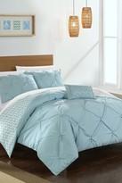 Portia Pinch Pleated Reversible Chevron Print Complete Comforter Set - Blue