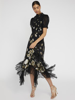 Alice + Olivia BETTINA FLORAL LACE MIDI DRESS
