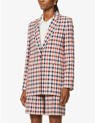 Victoria Victoria Beckham Checked single-breasted stretch-woven blazer