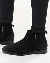 Asos Zip Boots In Black Suede