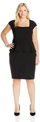 Single Dress Women's Plus Size Peplum Fitted Dress