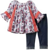 Little Lass Baby Girl Floral Gauze Top & Jeggings Set