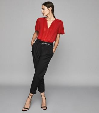 Reiss Millie - Semi Sheer Pleat Detailed Top in Red
