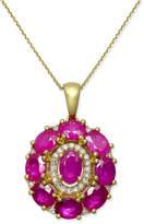 Macy's Certified Ruby (4 ct. t.w.) & Diamond (1/8 ct. t.w.) Pendant Necklace in 14k Gold