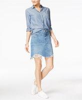 Dl 1961 Parker Cotton Frayed Denim Skirt