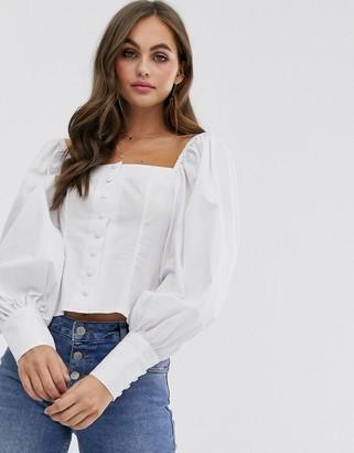 Asos Design DESIGN long sleeve square neck top with button detail in cotton-No Colour