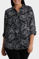 Rose Print 3/4 Sleeve Shirt