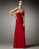 Beaded-Neck Flowy Gown