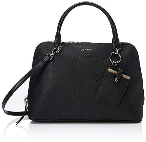 Calvin Klein womens Susan Saffiano Leather Dome Satchel with Card Case Hanger