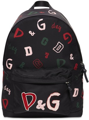 Dolce & Gabbana All Over Logo Nylon Backpack W/ Patches