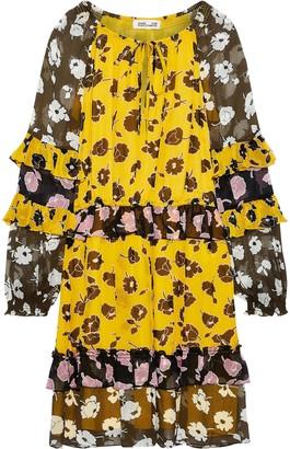 Diane von Furstenberg Haven Ruffled-trimmed Floral-print Silk-georgette Mini Dress