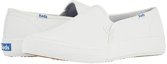 Keds Double Decker Leather (White) Women's Slip on Shoes