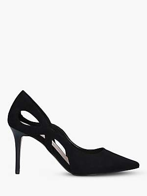 Carvela Karma Cut Out Stiletto Heel Suede Court Shoes, Black