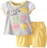 Absorba Baby-Girls Newborn Girl Hearts Short Set