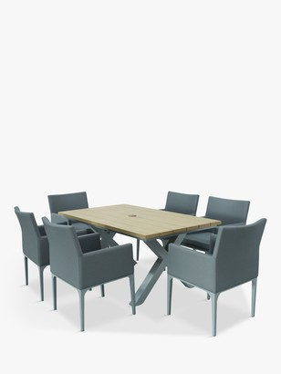 LG Outdoor Siena 6-Seat Wood-Effect Garden Dining Table & Armchairs Set, Grey