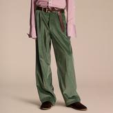 Burberry Wide-leg Salt-washed Velvet Trousers , Size: 54, Green