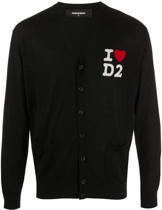 DSQUARED2 I Heart D2 wool cardigan